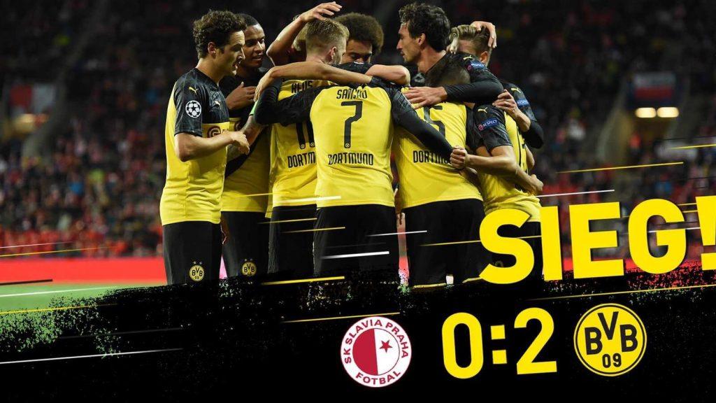 2019-2020欧冠小组赛F组第二轮斯拉维亚0:2多特蒙德